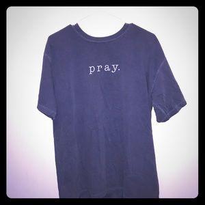 Gray/blue t-shirt: pray. Size: large. Mildly worn